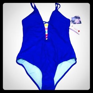 NWT Red Dress Boutique Blue One Piece Swimsuit